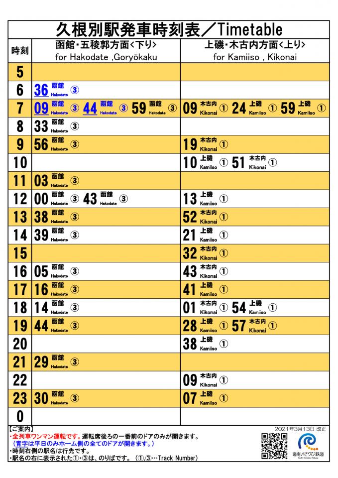 久根別駅時刻表