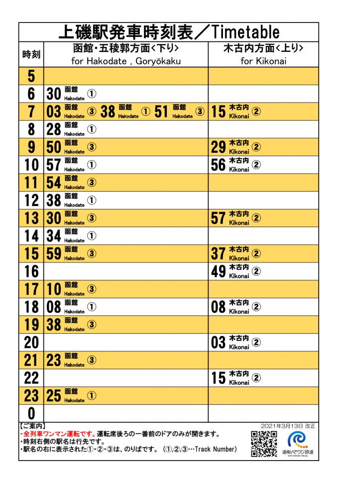 上磯駅時刻表