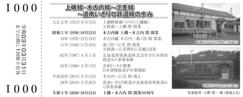 上磯木古内90周年記念乗車券裏20201023